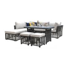 Graphite 7 PC Sectional Set w/off-white cushions