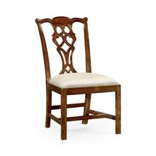 Chippendale Mahogany Side Chair Upholstered in Skipper