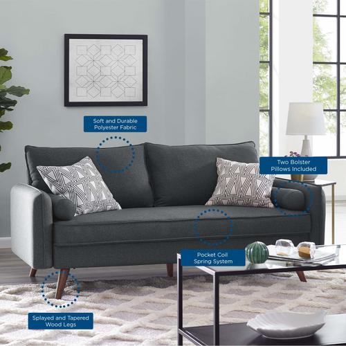 Modway - Revive Upholstered Fabric Sofa in Gray