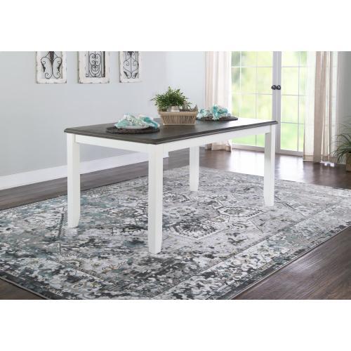 Rectangular Dining Table, White and Dark Grey