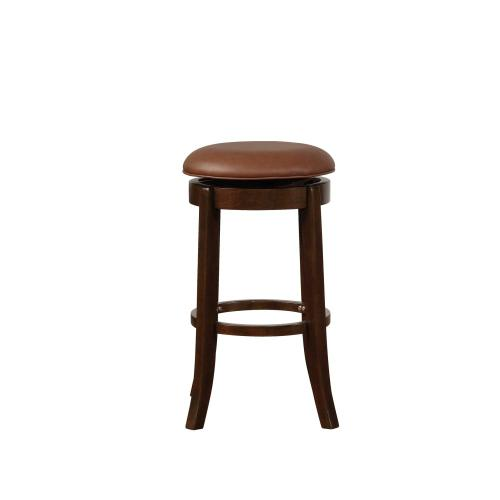 Upholstered Seat and 360-degree Swivel Barstool, Espresso Brown