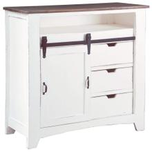See Details - Sliding Barn Door Chest - Two Tone White and Raftwood