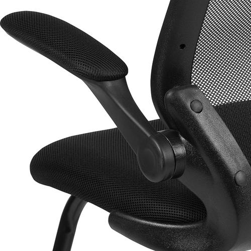 Gallery - Black Mesh Sled Base Side Reception Chair with Flip-Up Arms