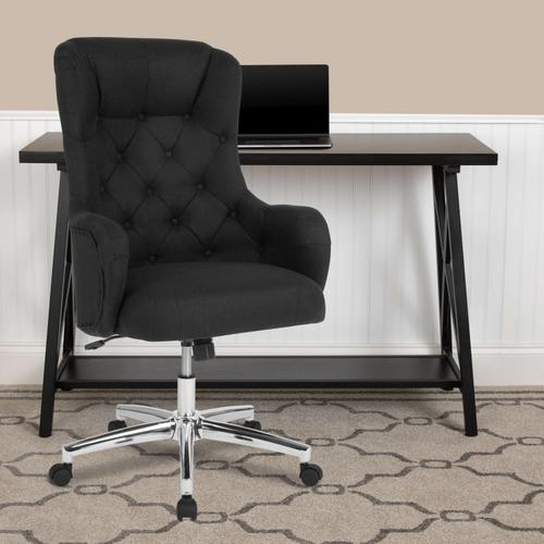 Gallery - Chambord Home and Office Upholstered High Back Chair in Black Fabric