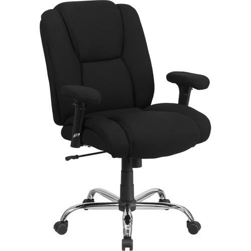 HERCULES Series 400 lb. Capacity Big & Tall Black Fabric Swivel Task Chair with Height Adjustable Arms