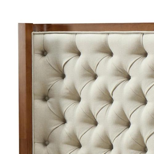 Marshall KD Fabric Tufted Queen Bed Set Walnut Frame, Lark Linen (Headboard)