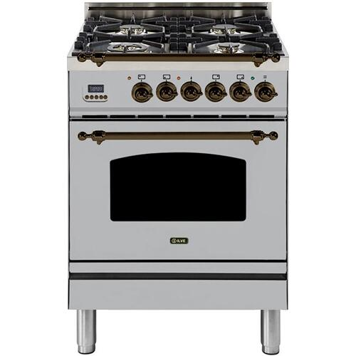 Nostalgie 24 Inch Dual Fuel Natural Gas Freestanding Range in Stainless Steel with Bronze Trim
