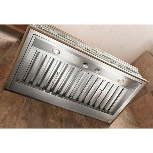 """58-7/8"""" Custom Hood Liner Insert designed for outdoor cooking in covered lanais 1250 Max CFM"""