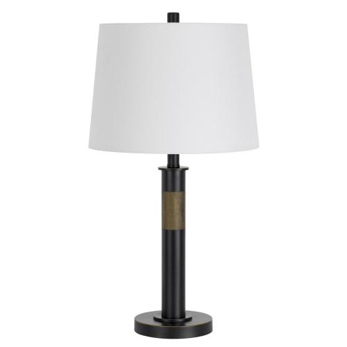 150W 3 way Summerfield metal table lamp with hardback taper drum fabric shade