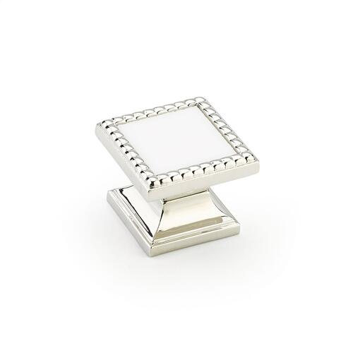 "Kingsway, Knob, Square, 1-1/4"" dia, Polished Nickel, Classic White Glass"