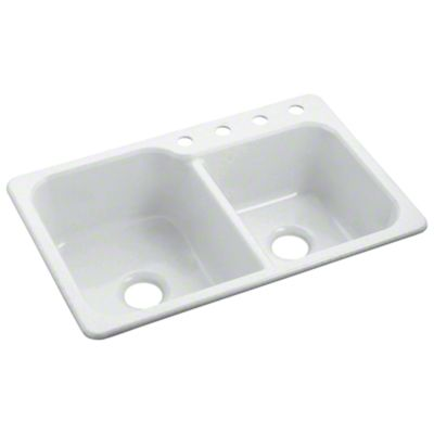 Sterling Sc3322dbg0 Studio41 Maxeen Double Basin Kitchen Sink 33 X 22 White