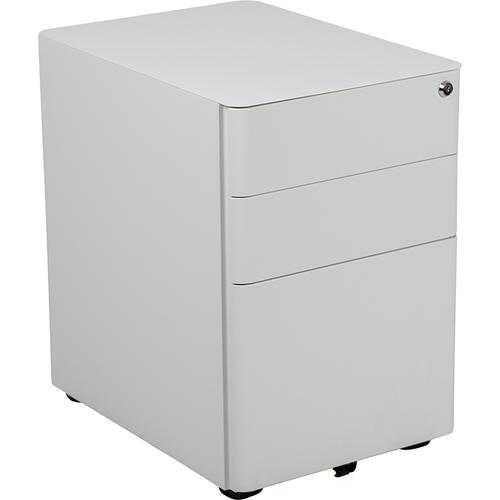 Flash Furniture - Modern 3-Drawer Mobile Locking Filing Cabinet with Anti-Tilt Mechanism and Hanging Drawer for Legal & Letter Files, White