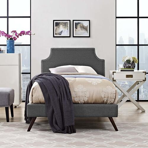 Corene Twin Fabric Platform Bed with Round Splayed Legs in Gray