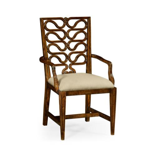 Serpentine open back dining chair (Arm)