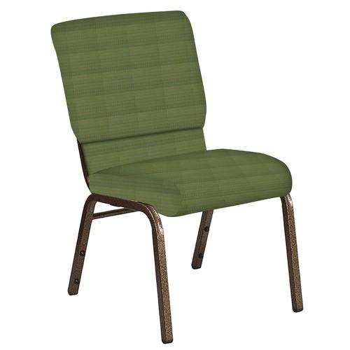 Flash Furniture - 18.5''W Church Chair in Mainframe Basil Fabric - Gold Vein Frame