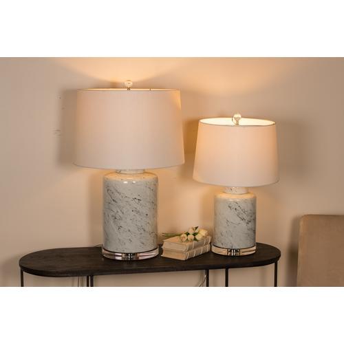 Round Jar Porcelain Marbleized Lamp, Sm