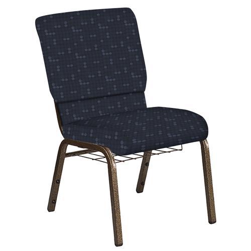 Flash Furniture - 18.5''W Church Chair in Eclipse Tartan Blue Fabric with Book Rack - Gold Vein Frame