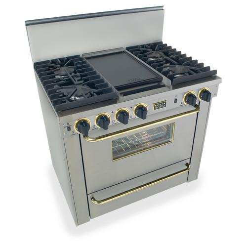 """Five Star - 36"""" All Gas, Convect, Sealed Burners, Stainless Steel with Brass"""