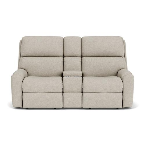 Rio Power Reclining Loveseat with Console & Power Headrests