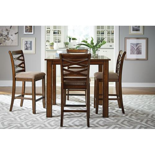Redondo Counter Height Table and Four Chairs Set, Cherry Brown