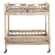 Ambrose 2 Tier Rattan Bar Cart - Grey Wash / Antique Brass