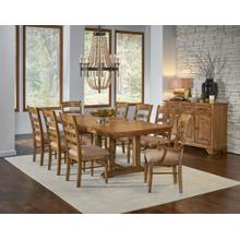 9 PIECE SET (TRESTLE TABLE, 6 SIDE CHAIRS AND 2 ARM CHAIRS)