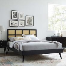 Sidney Cane and Wood Queen Platform Bed With Splayed Legs in Black