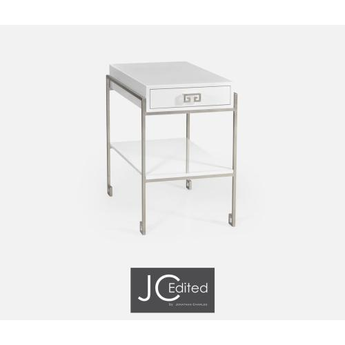 Silver Iron End Table with Biancaneve Drawer