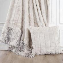 White Faux Mink U0026 Snow Leopard Oversized Throw Blanket