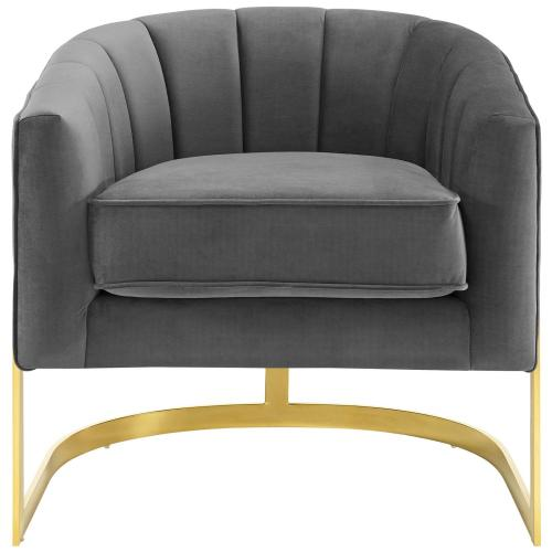 Modway - Esteem Vertical Channel Tufted Performance Velvet Accent Armchair in Gray
