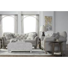 Metropolitan Fabric Tufted Sofa and Loveseat Set in Sandstone with Pillows
