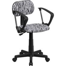 View Product - Black and White Zebra Print Swivel Task Office Chair with Arms