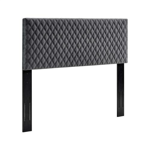 Angela Twin Performance Velvet Headboard in Charcoal