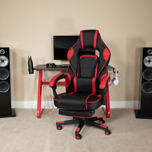 Red Gaming Desk with Cup Holder\/Headphone Hook & Red Reclining Back\/Arms Gaming Chair with Footrest