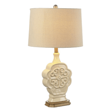 Ivory Embossed Medallion Table Lamp. 100W Max. 3 Way Switch. (CB173176) (4 pc. assortment)