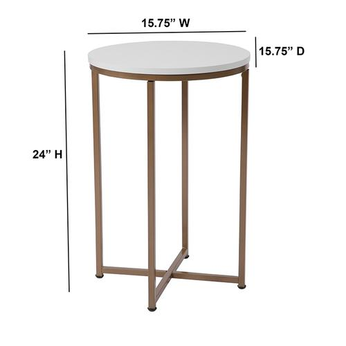 Flash Furniture - Hampstead Collection White End Table with Matte Gold Frame