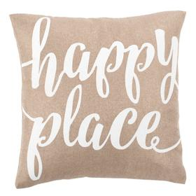 Happy Place Pillow - Taupe/white