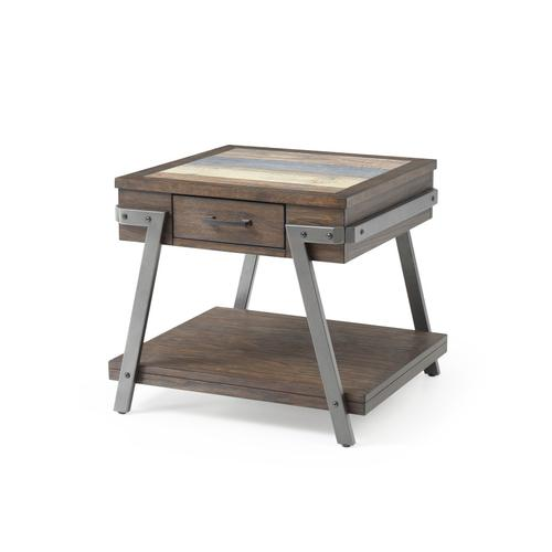 Square End Table-wood W/tile Insert Top-metal Legs