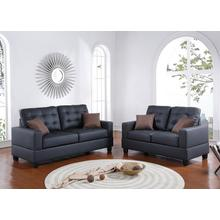 Ramla 2pc Loveseat & Sofa Set, Black Faux Leather