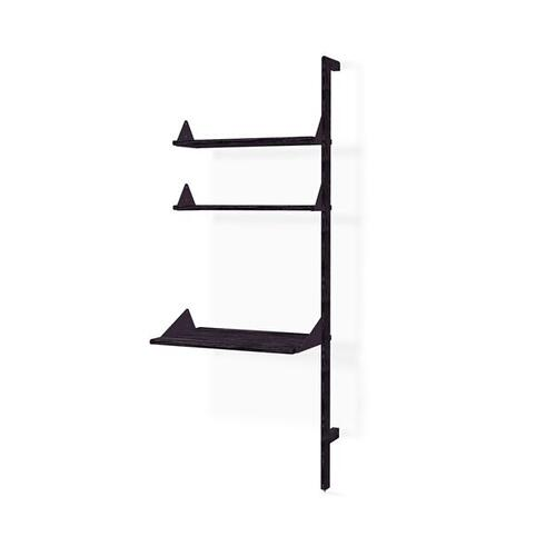 Branch Desk Unit Add-On Black Uprights Black Brackets Black Shelves