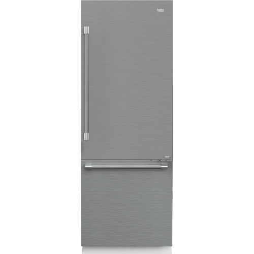 "30"" Stainless Steel Freezer Bottom Built-In Refrigerator with Auto Ice Maker, Water Dispenser"