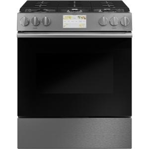 "Cafe30"" Smart Slide-In, Front-Control, Dual-Fuel Range in Platinum Glass"