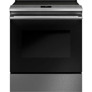 "Cafe30"" Smart Slide-In, Front-Control, Radiant and Convection Range in Platinum Glass"