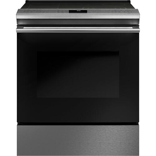 "Café 30"" Smart Slide-In, Front-Control, Radiant and Convection Range in Platinum Glass"