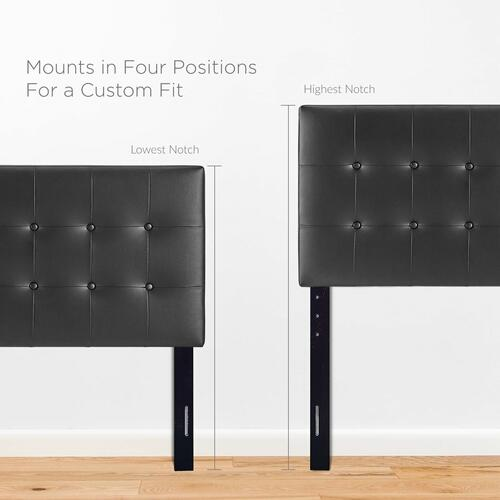Emily Twin Upholstered Vinyl Headboard in Black
