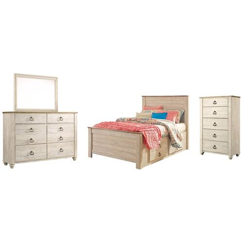 Full Panel Bed With 2 Storage Drawers With Mirrored Dresser and Chest