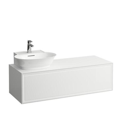 White Matte Drawer element 1200, 1 drawer, cut-out left, matches small washbasin 816852