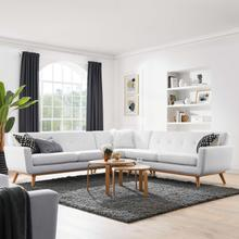 See Details - Engage L-Shaped Upholstered Fabric Sectional Sofa in White