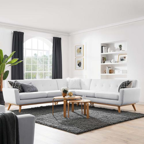 Modway - Engage L-Shaped Upholstered Fabric Sectional Sofa in White