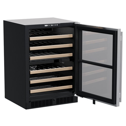 24-In Built-In High-Efficiency Dual Zone Wine Refrigerator with Door Style - Stainless Steel Frame Glass